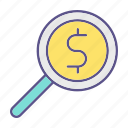 business, financial, loop, money, searching icon
