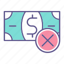 business, financial, money, refuse icon