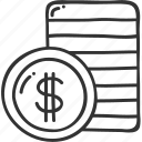 cash, coin, dollar, money, stack icon