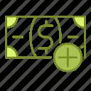 add, business, financial, money icon