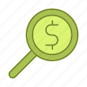banking, business, financial, money, searching icon