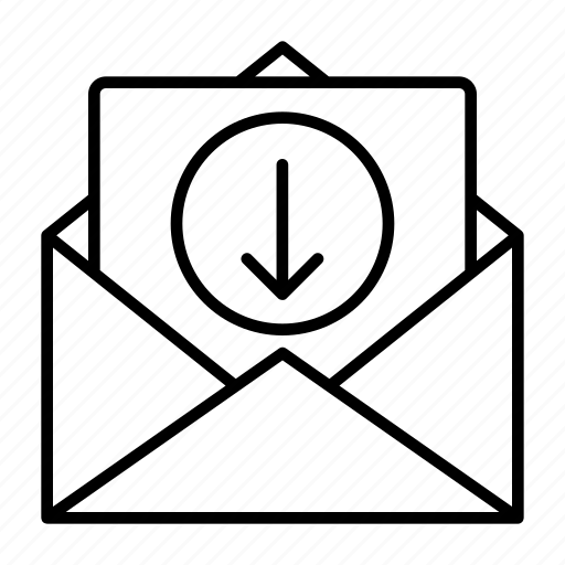 download, mail, message, received, save icon