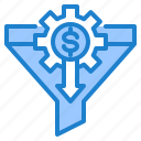 filter, filtering, gear, money, sort icon