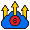 arrow, business, cloud, finance, money, up icon