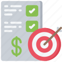 advice, finance, financial, goals, target icon