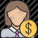 advice, advisor, avatar, female, financial icon