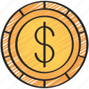 advice, american, coin, currency, dollar, financial icon