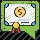 advice, bond, certificate, financial, money icon