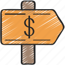advice, arrow, direction, finance, financial, sign icon