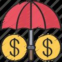 advice, finance, financial, insured, umbrella icon