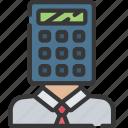 accountant, advice, avatar, calculator, financial icon