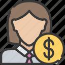 advice, advisor, avatar, female, financial