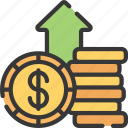 advice, financial, gain, inflation, money icon