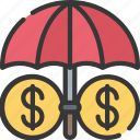 financial, advice, umbrella, finance, insured icon