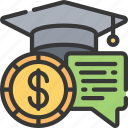 financial, advice, student, teaching, learn icon