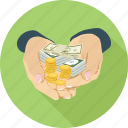 coins, hands, money, money in hands icon