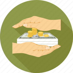 coins, dollars, money in hands icon