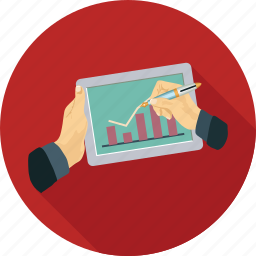 analytics, graphs, stats, tablet icon