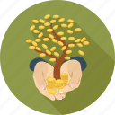 coins, hands, tree icon