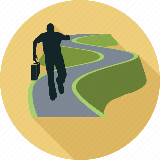 career path, man on road, path, road, way icon