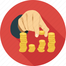 coin in hands, coins, play with coins icon