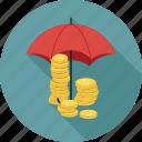 coins, umbrella