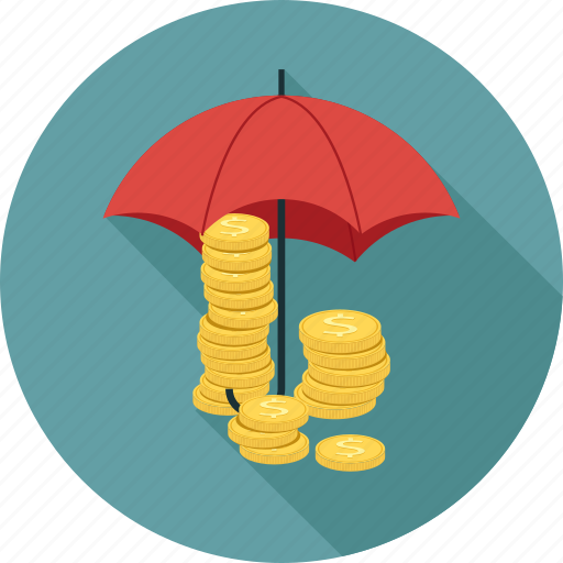 coins, umbrella icon