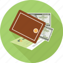 check, dollars, wallet icon