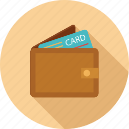 card, credit card in wallet, wallet, wallet and card icon