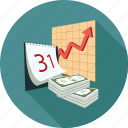 analytics, calendar, dollars, graph, money icon