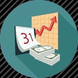 analytics, calendar, dollars, graph, money icon