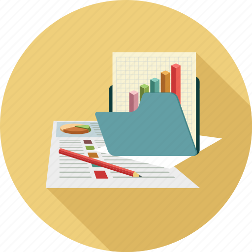 analytics, folder, graph icon