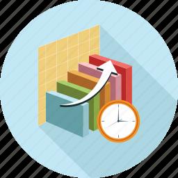 bar graph, graph, time, timer icon