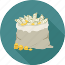 coins, dollars, dollars bundle, dollars in the bag icon