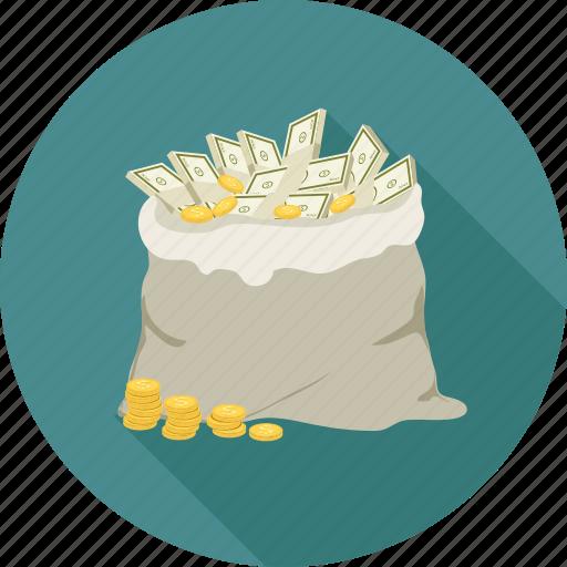 coins, dollars, dollars bundle, dollars in the bag icon