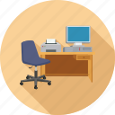 chair, desktop, pc, printer, workplace icon