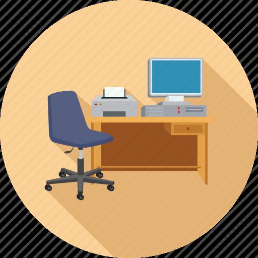 chair, desktop, pc, printer, workplace icon
