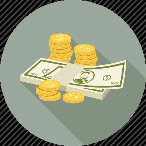 Cash, coins, dollars, money icon - Download on Iconfinder
