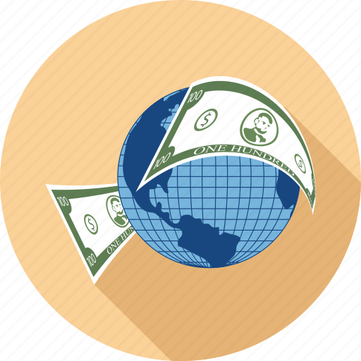 dollar, dollars, global, money, world globe icon