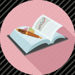 note book, notebook, pen icon