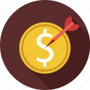 dollar, dollars, targeted money icon