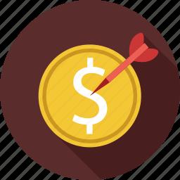 dollar, dollars, targeted money icon