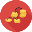 coins, linked money, money icon