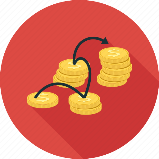 coins, linked money, money icon