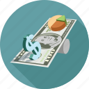 dollars, pie chart icon