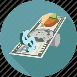 dollars, pie chart icon