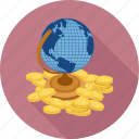 coins, global, money icon