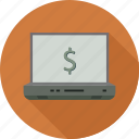 dollar, laptop icon