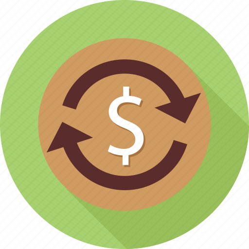 dollars, money, refresh, reload, reload funds icon