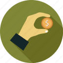 coin, coin in hand, finance, hand and coin, money icon